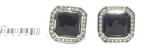 Ippolita IPPOLITA STERLING SILVER BLACK ONYX & DIAMOND STELLA RECTANGLE STUD EARRINGS
