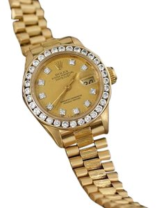 Rolex Rolex President Datejust Ladies Bark Finish Champagne Dial Watch, Ref. 69278 - 18K Gold & Diamonds