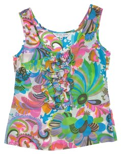 Trina Turk Multi Color Neon Print Silk Top