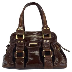 Jimmy Choo Brown Patent Leather Hobo Bag