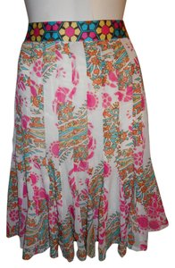Nicole Miller Skirt pink, white, blue & green multi color