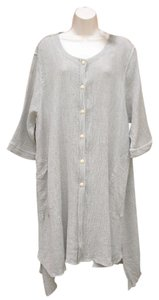 Other Linen Lagenlook Jacket Long Artsy Button Down Shirt Flax