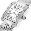 Cartier Ladies Tank W51008q3 With Natural Diamonds Stainless Steel Watch Image 0