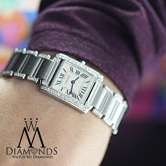 Cartier Ladies Tank W51008q3 With Natural Diamonds Stainless Steel Watch Image 2