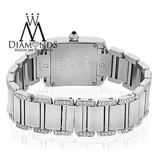 Cartier Ladies Tank W51008q3 With Natural Diamonds Stainless Steel Watch Image 3