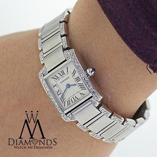 Cartier Ladies Tank W51008q3 With Natural Diamonds Stainless Steel Watch Image 4