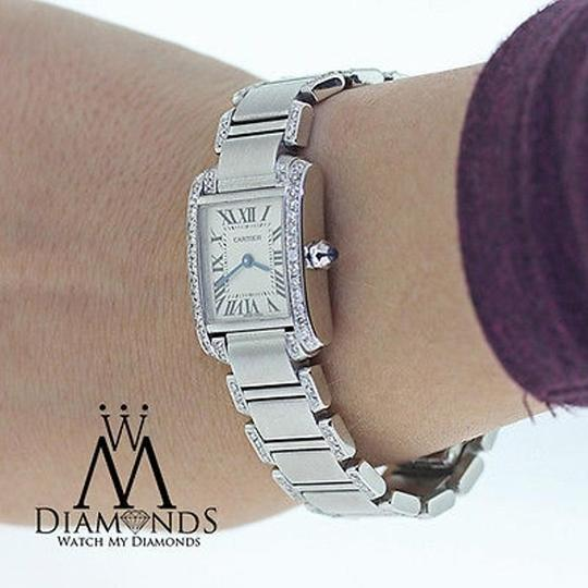 Cartier Ladies Tank W51008q3 With Natural Diamonds Stainless Steel Watch Image 5