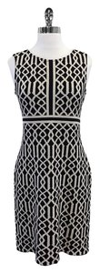 St. John short dress Black Ivory Knit on Tradesy