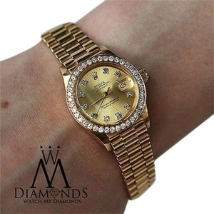 Rolex 18k Yellow Gold Lady-datejust 26mm Diamond Presidential Watch