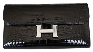 Hermès Hermes Constance Black Shiny Alligator/Crocodile Wallet/Clutch