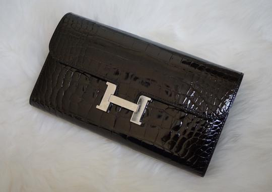 Hermès Hermes Constance Black Shiny Alligator Long Wallet