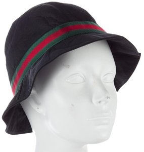 Gucci Black nylon Gucci Web logo bucket hat