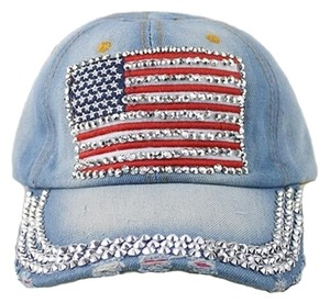 USA American Flag Bling Bling Rhinestone Crystal Accent Distressed Washed Denim Baseball Cap Hat