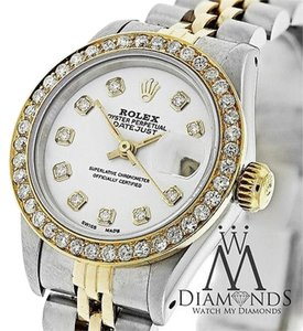 Rolex Ladies Oyster Datejust K Goldss 69173 Watch - Diamond Bezel