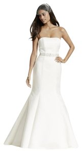 David's Bridal Fit And Flare Satin Wedding Dress