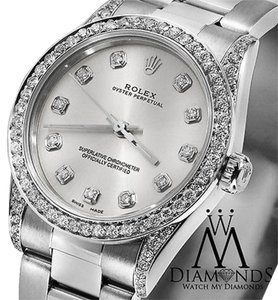 Rolex Ladies 67480 Mid-size 31mm Watch Silver Diamond Dial
