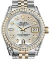 Rolex Stainless Steel-gold Mm Datejust Watch White Mop Diamond Dial Image 0