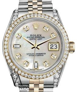 Rolex Stainless Steel-gold Mm Datejust Watch White Mop Diamond Dial