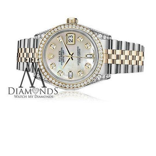 Rolex Stainless Steel-gold Mm Datejust Watch White Mop Diamond Dial Image 1