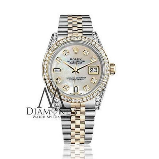 Rolex Stainless Steel-gold Mm Datejust Watch White Mop Diamond Dial Image 2