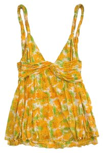 Diane von Furstenberg Yellow Green Floral Top