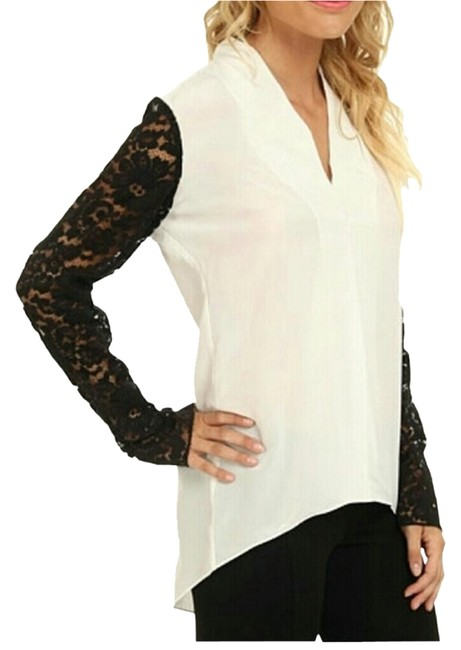 Item - White and Black Silk Color-block Tunic Size 12 (L)