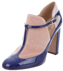 Valentino Patent Leather T-strap Ankle Blue, Beige Boots
