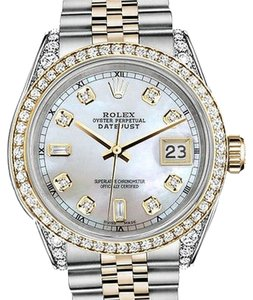 Rolex Stainless Steel - Gold Mm Datejust Watch White Mop 82 Diamond Dial