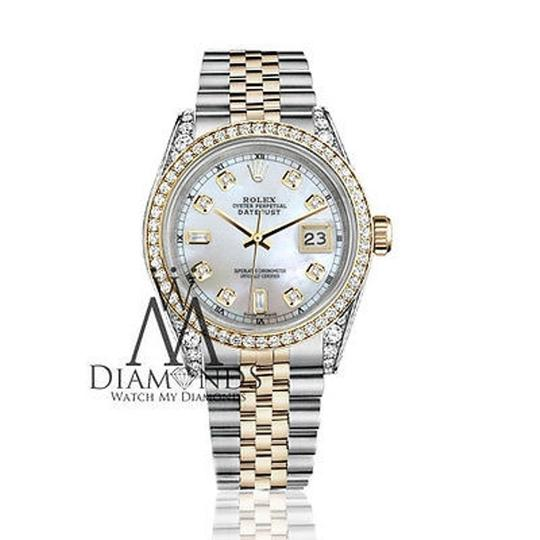 Rolex Stainless Steel - Gold Mm Datejust Watch White Mop 82 Diamond Dial Image 1