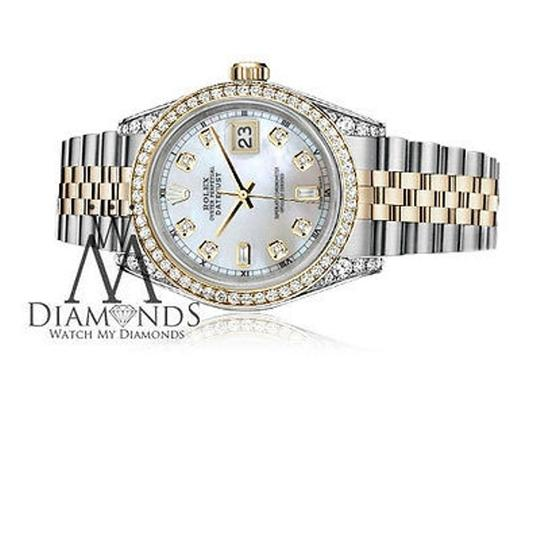 Rolex Stainless Steel - Gold Mm Datejust Watch White Mop 82 Diamond Dial Image 2