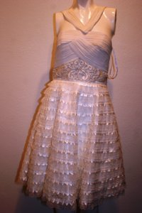 Sue Wong White Nylon/Polyester Halter Lace Modern Wedding Dress Size 6 (S)