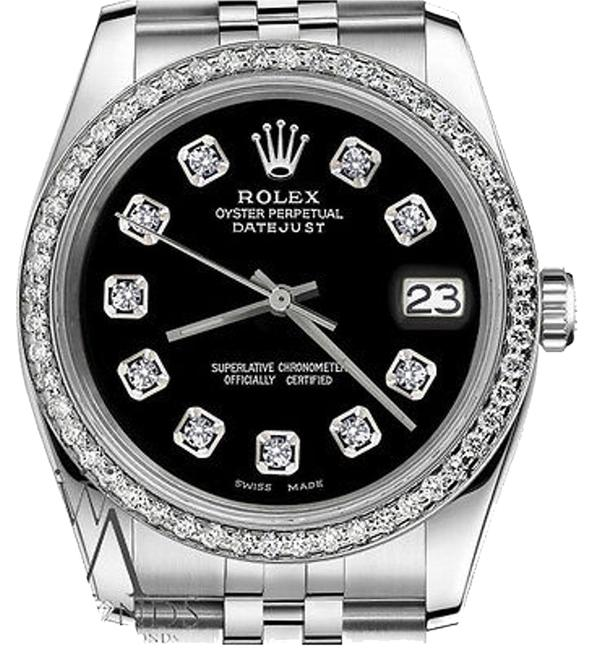 Rolex Ladies 31mm Datejust Stainless Steel Black Dial with Diamond Accent Watch Rolex Ladies 31mm Datejust Stainless Steel Black Dial with Diamond Accent Watch Image 1