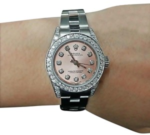 Rolex Ladies Diamond Oyster Band Salmon Pink Diamond Dial 26mm Automatic Watch