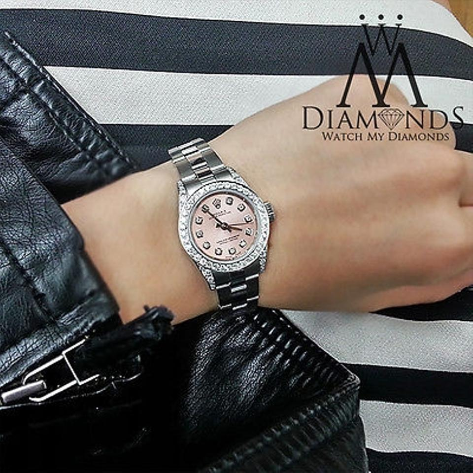 Rolex Ladies Diamond Oyster Band Salmon Pink Diamond Dial 26mm Watch 55 Off Retail