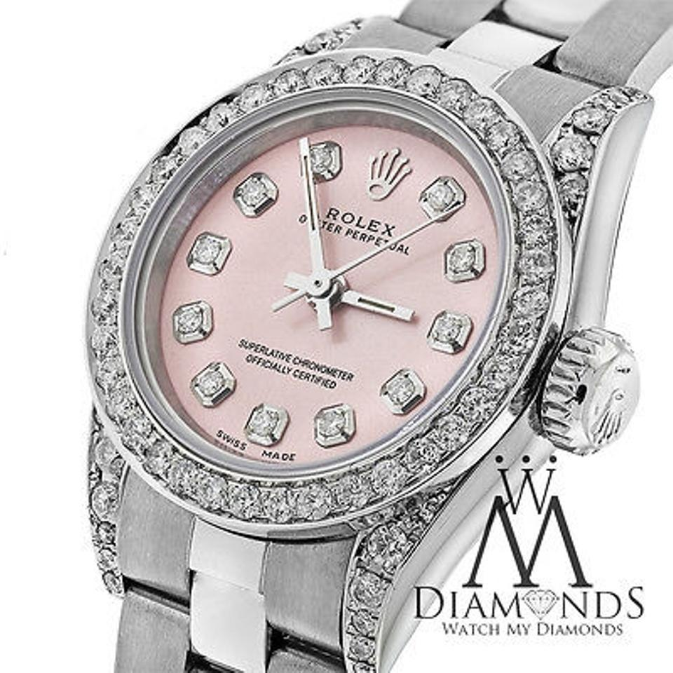 Rolex Ladies Diamond Oyster Band Salmon Pink Diamond Dial 26mm Watch 55%  off retail