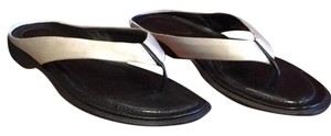 Tod's Silvery White & Black. Sandals
