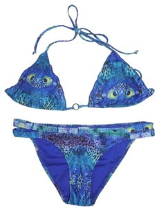 Rampage Rampage Swimsuit Bikini Size Large Blue Peacock 2 Piece Top Bottom New No Tags