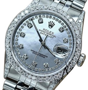 Rolex Mens Datejust Jubilee Stainless Steel White Mm Diamond Watch