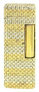 """Alfred Dunhill Dunhill 18K Yellow White Gold Weave Lighter 2.5"""" 89.9 Grams"""