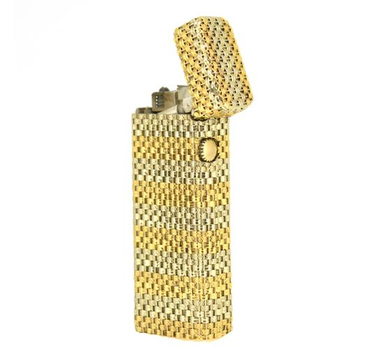 Alfred Dunhill Dunhill 18K Yellow White Gold Weave Lighter 2.5