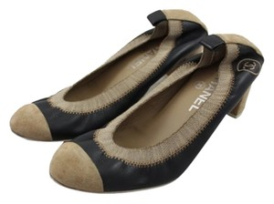 Chanel Tan Suede Embroidered Black and Beige Formal