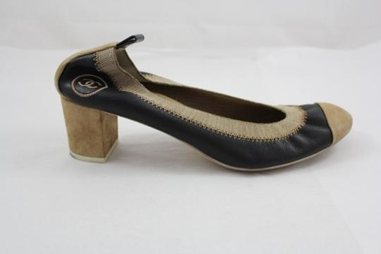 Chanel Tan Suede Embroidered Pumps Black and Beige Formal
