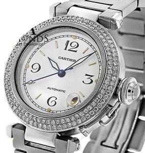 Cartier Pasha Automatic 35mm Diamond Bezel Stainless Steel Watch White Dial