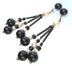Other Vintage 1960's Black Bead & Pearl Dangling Clip Earrings