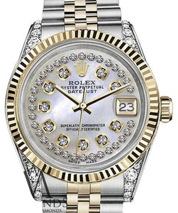 Rolex Ladies 31mm Datejust Tone White Mop Mother Of Pearl String Diamond