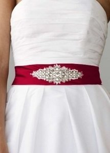 David's Bridal Apple Red Satin with Beaded Embellishment Sash