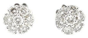 Other 14K White Gold 0.92Ct Diamond Cluster Stud Earrings 2.0 Grams