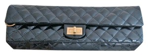 Chanel Patent Evening Date Night Dark Blue Clutch