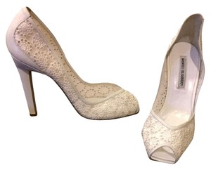 Manolo Blahnik Peep Toe Wedding Lace Simple Nude Christian Louboutin Bianca Sexy Heel White Pumps