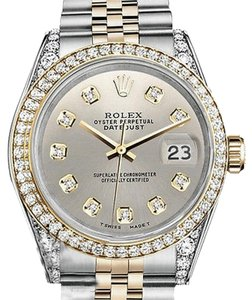 Rolex Stainless Steel And Gold Mm Datejust Watch Silver Diamond Dial